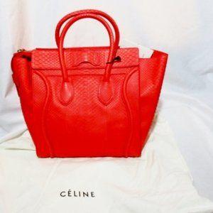NEW CELINE PARIS MINI LUGGAGE Python Tote Bag